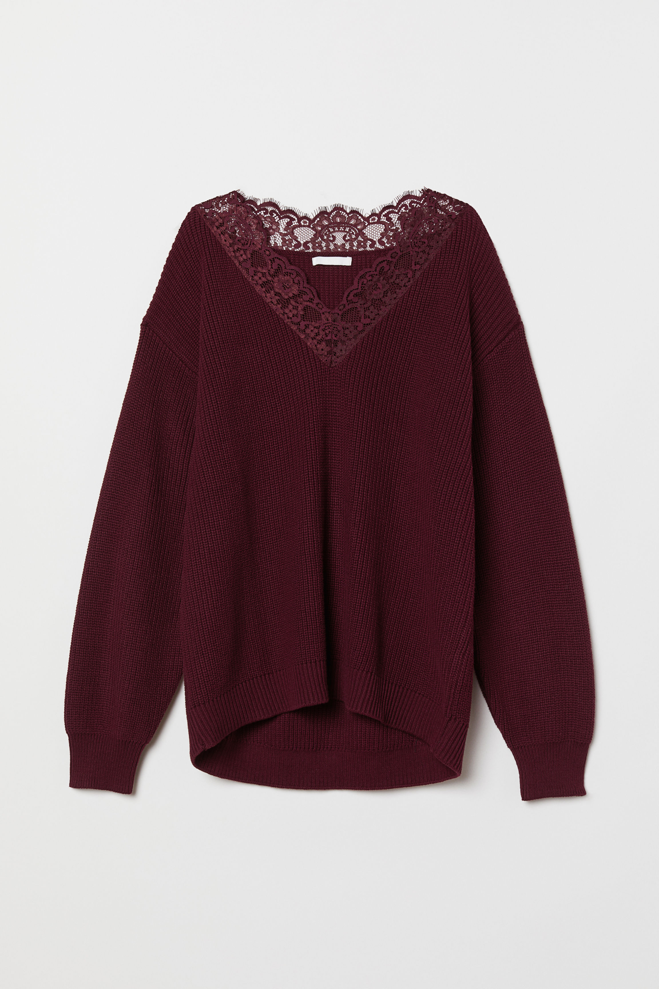89e34a382b46 Knit Sweater with Lace - Black - Ladies