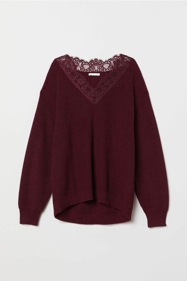 f933cbda8b939 ... Cardigans   Jumpers · Jumpers  Knitted jumper with lace. Knitted jumper  with lace - Burgundy - Ladies