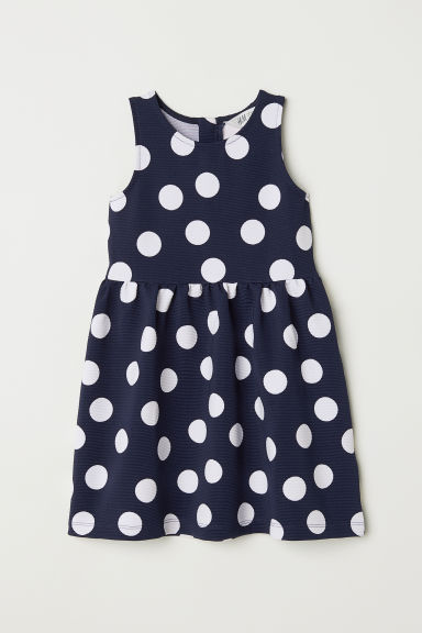 Sleeveless dress - Dark blue/Spotted - Kids | H&M