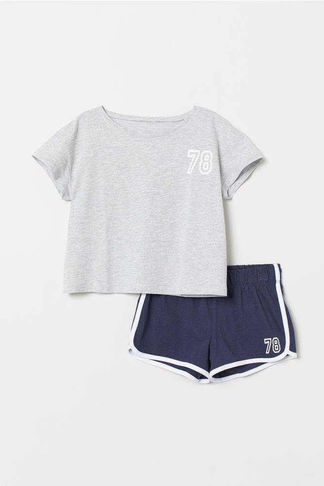 89146110533ec Pyjama en jersey - Gris chiné bleu foncé - ENFANT