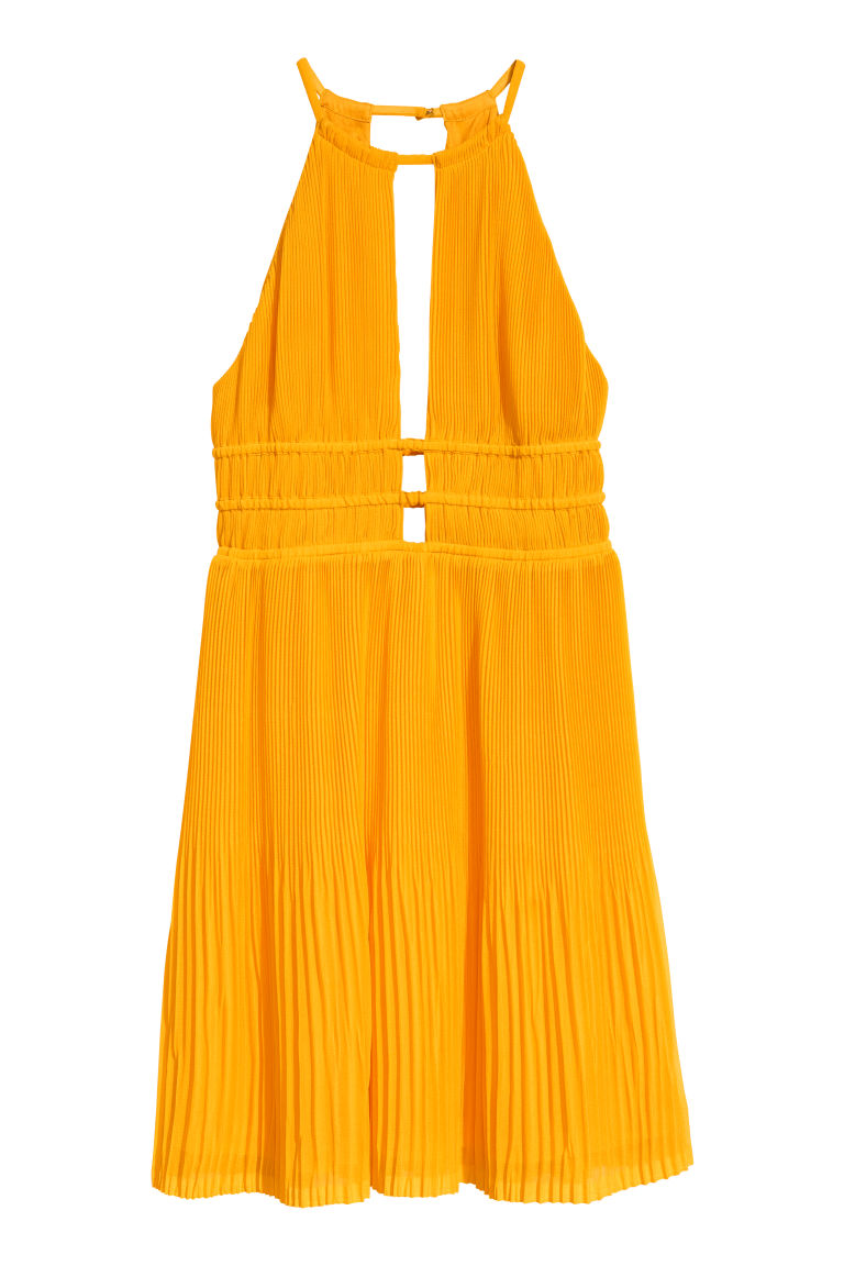 Pleated halterneck dress - Orange - Ladies | H&M CN