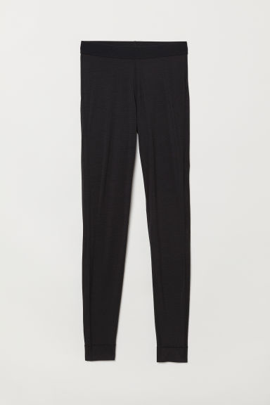 Wool-blend base layer tights - Black - Ladies | H&M CN