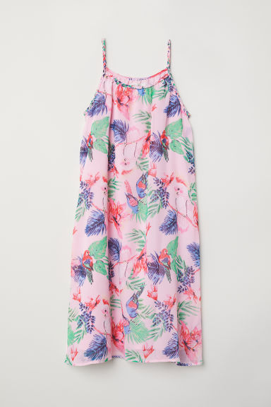 Patterned chiffon dress - Light pink/Cockatoos - Kids | H&M