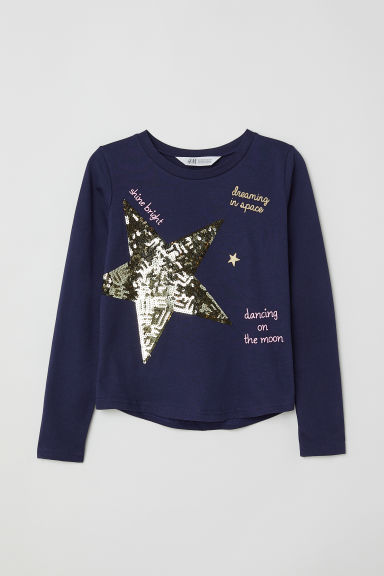 Top with sequins - Dark blue/Star - Kids | H&M