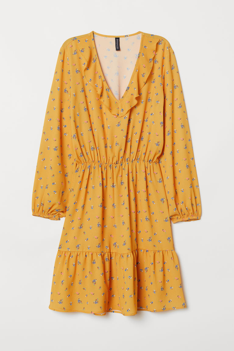 V-neck dress - Yellow/Floral - Ladies | H&M