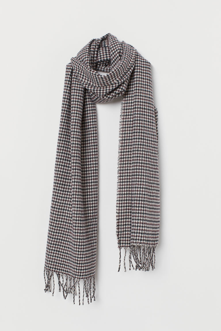 Dogtooth-patterned scarf - Light beige/Dogtooth-patterned - Men | H&M CN
