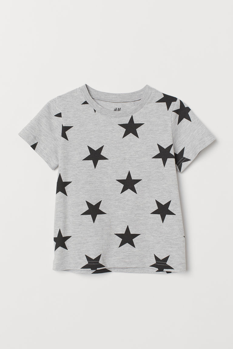 Patterned T-shirt - Grey marl/Stars - Kids | H&M CN