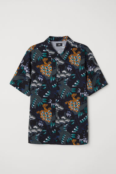 Short-sleeve shirt Regular fit - Black/Patterned - Men | H&M CN
