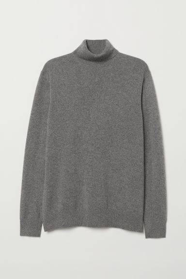 Cashmere polo-neck jumper - Grey - Men | H&M