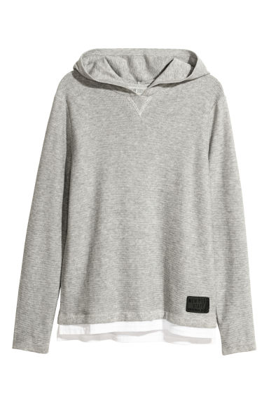 Fine-knit hooded jumper - Light grey marl -  | H&M