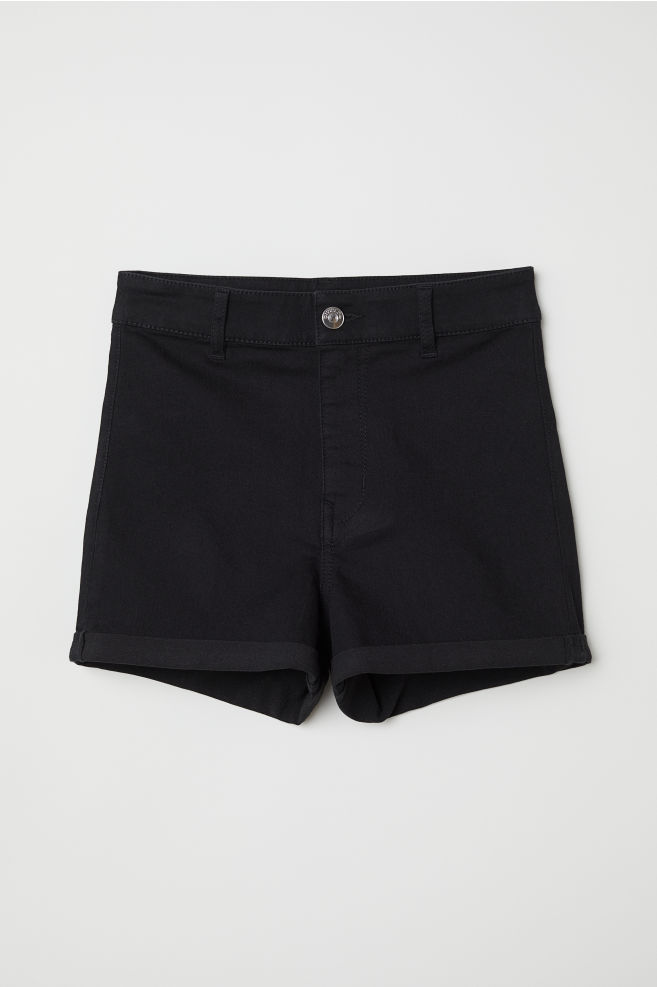 cc2656a69d4a ... Twill Shorts High Waist - Black - | H&M ...