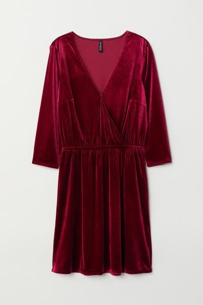 406ee55415d07 Velvet Wrap Dress - Burgundy - | H&M US
