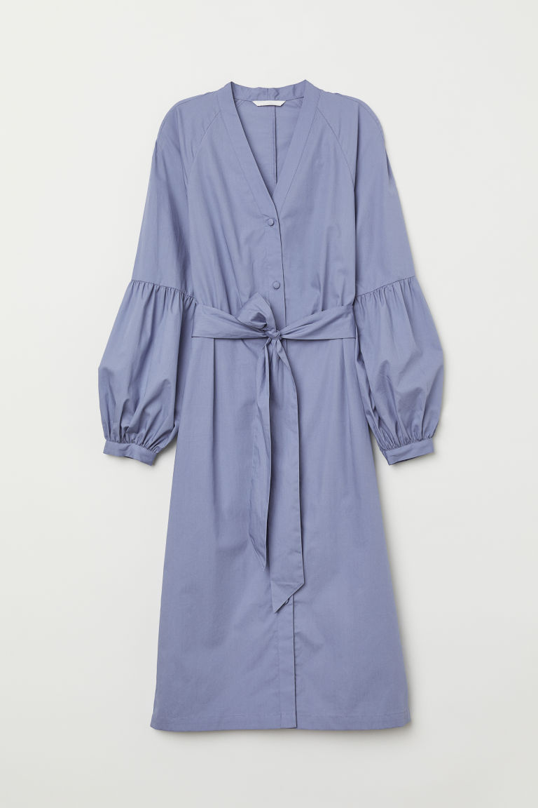 V-neck shirt dress - Dusky blue - Ladies | H&M