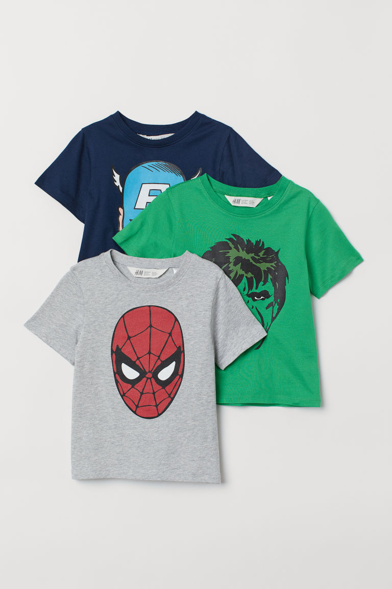 3-pack printed T-shirts - Grey marl/Spider-Man - Kids | H&M IE