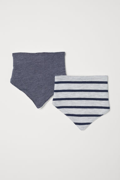 2-pack triangular scarves - Light grey marl/Striped - Kids | H&M
