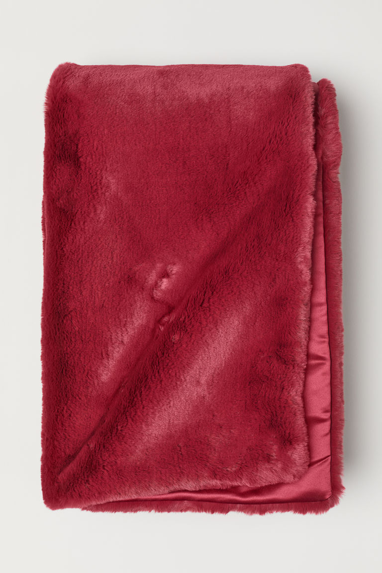 Faux fur blanket - Dark red - Home All | H&M CN