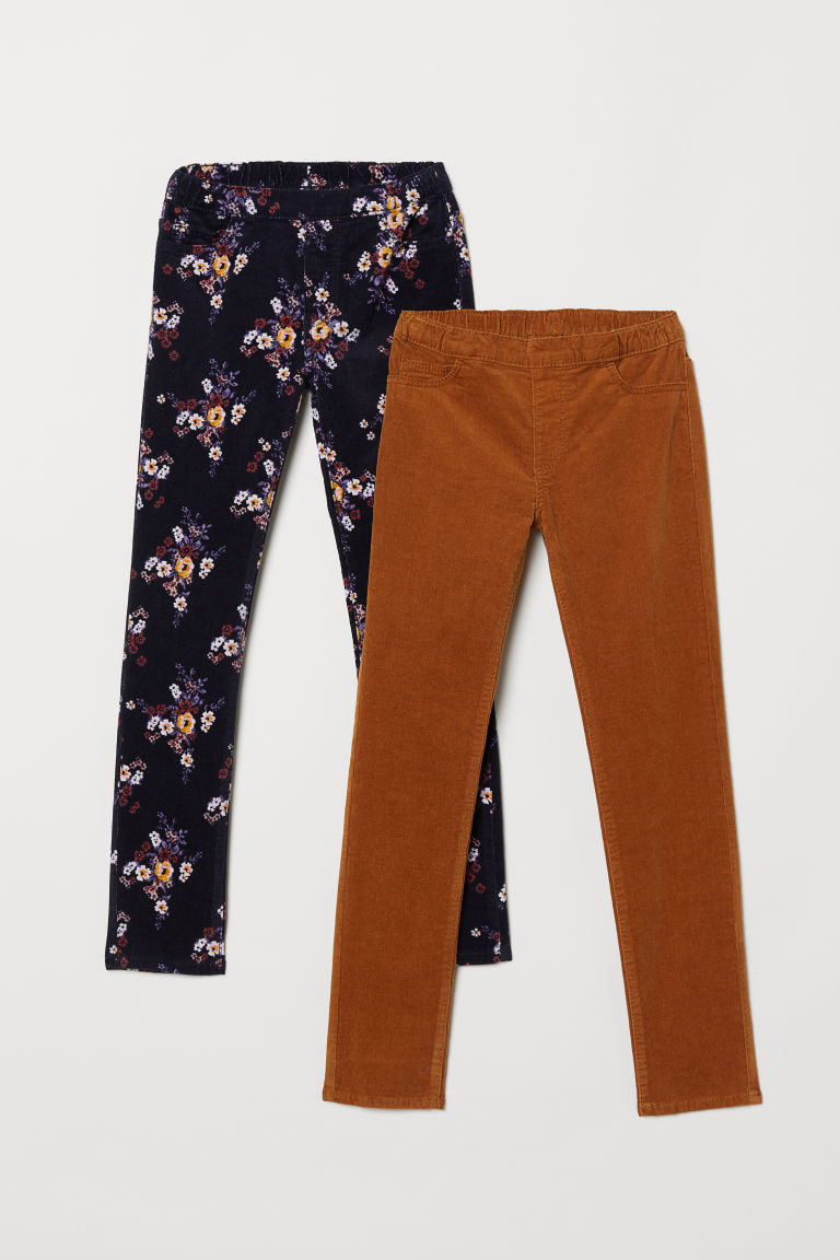 Corduroy treggings - Dark blue/Floral -  | H&M