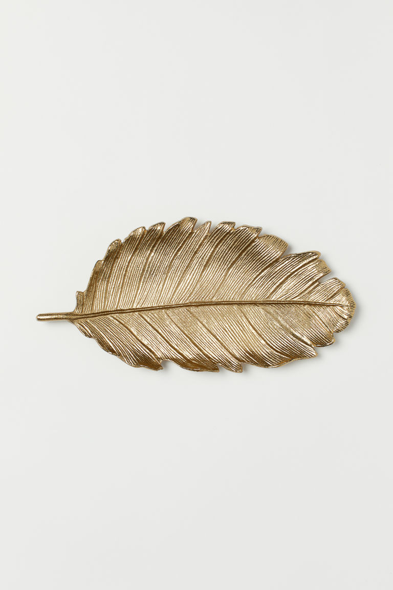 Metal tray - Gold-coloured/Leaf - Home All | H&M GB