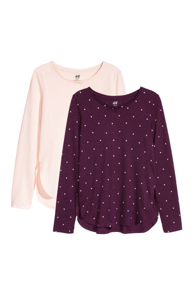 2-pack tops - Light pink/Burgundy - Kids | H&M CN