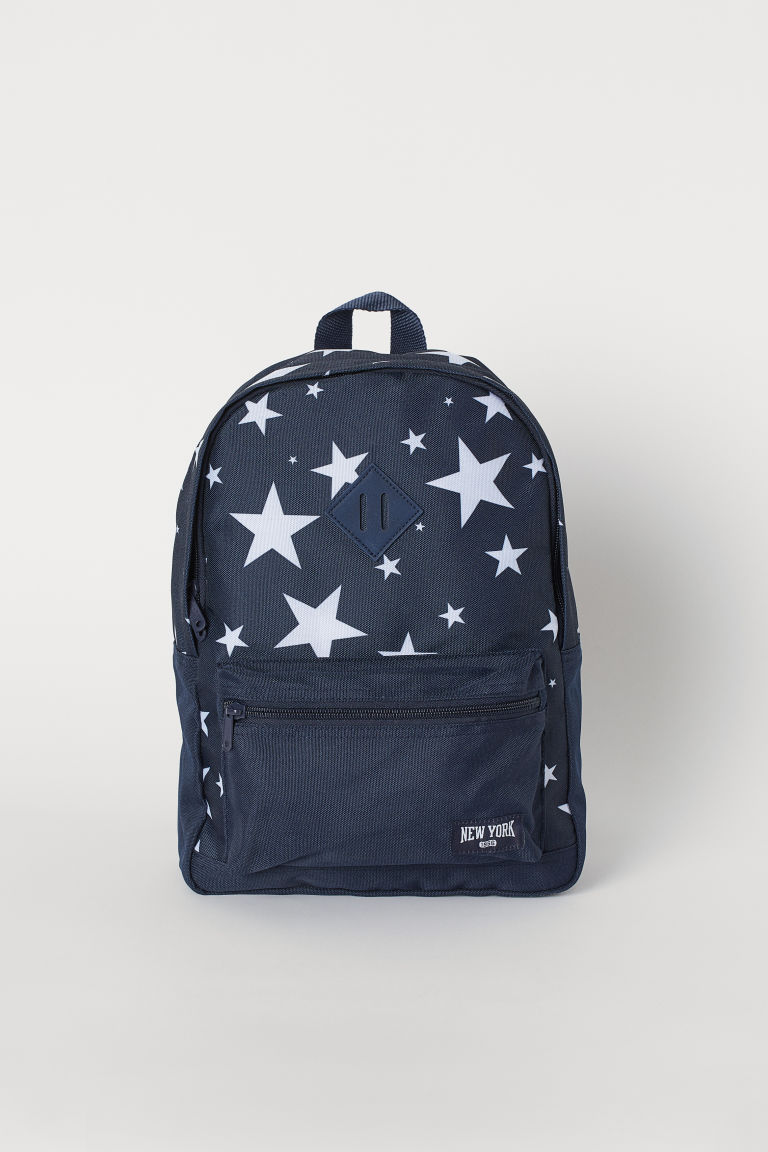 Patterned Backpack - Dark blue/stars - Kids | H&M US