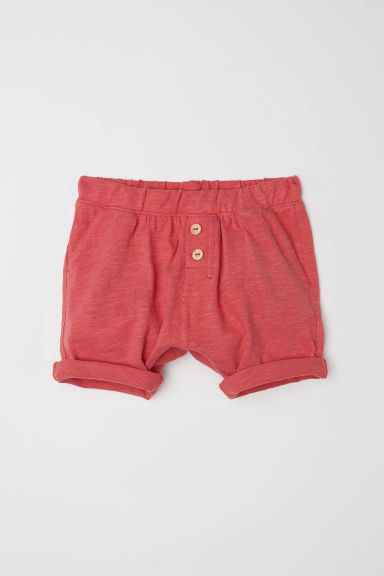 Slub cotton jersey shorts - Rust red -  | H&M CN