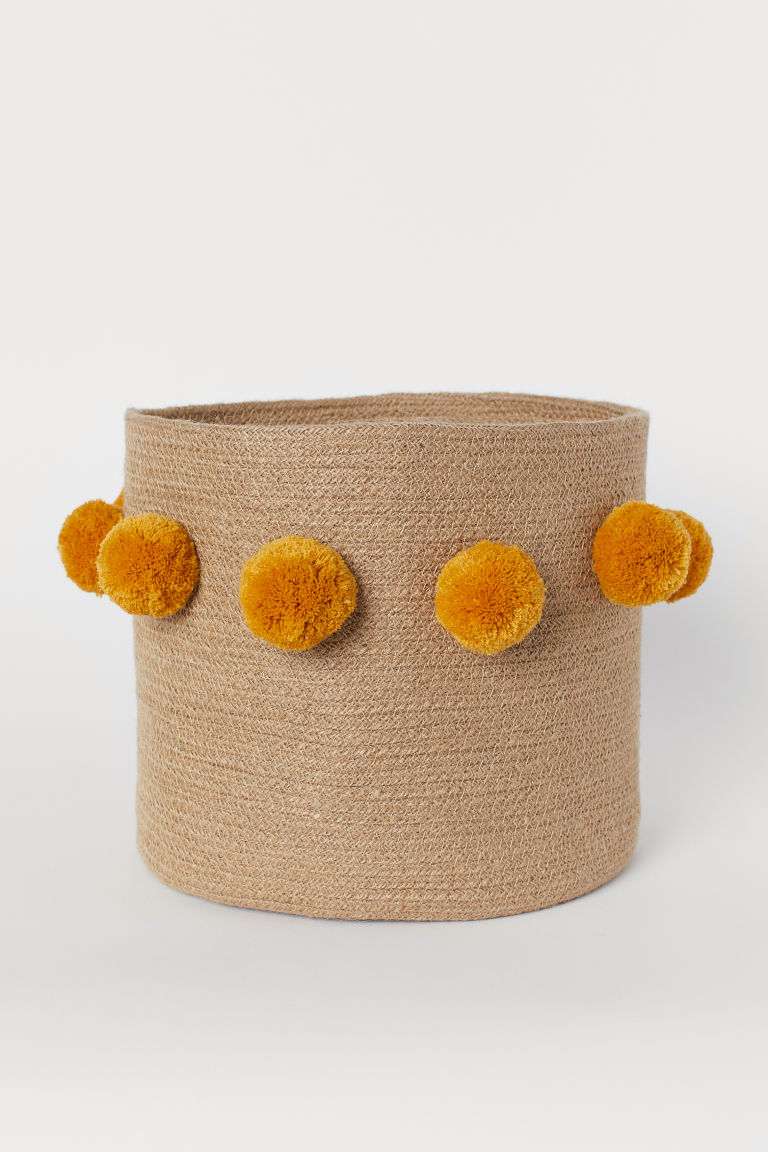 Storage Basket with Pompoms - Dark beige/dark yellow - Home All | H&M US