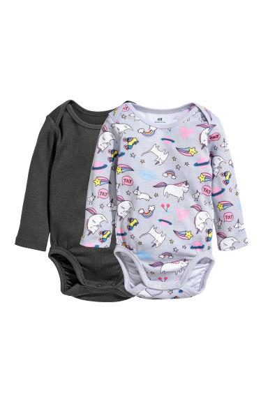 2-pack long-sleeved bodysuits - Light grey/Unicorn - Kids | H&M