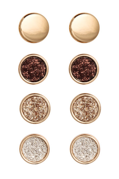 4 pairs round earrings - Gold -  | H&M IE