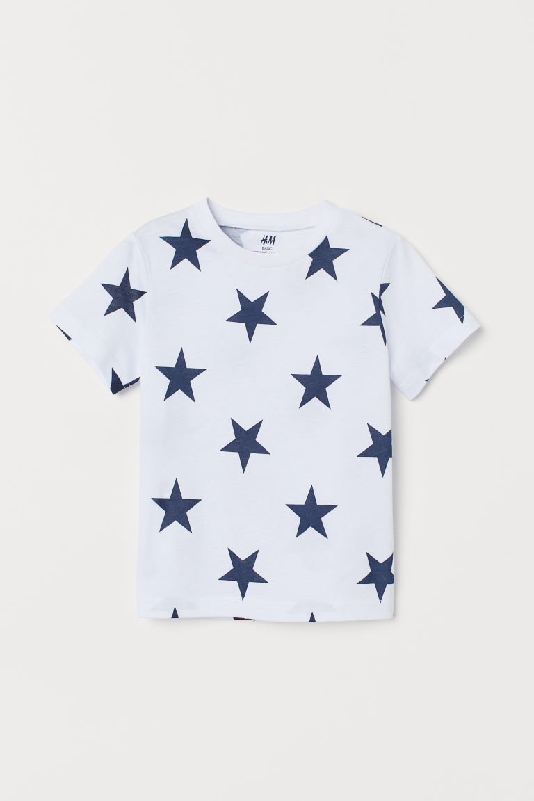 Patterned T-shirt - White/Stars - Kids | H&M CN