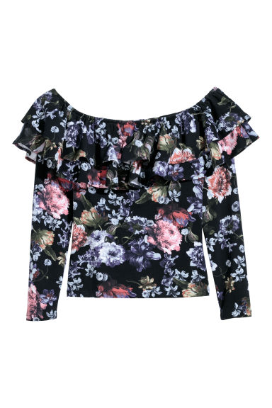 Off-the-shoulder top - Black/Floral -  | H&M CN