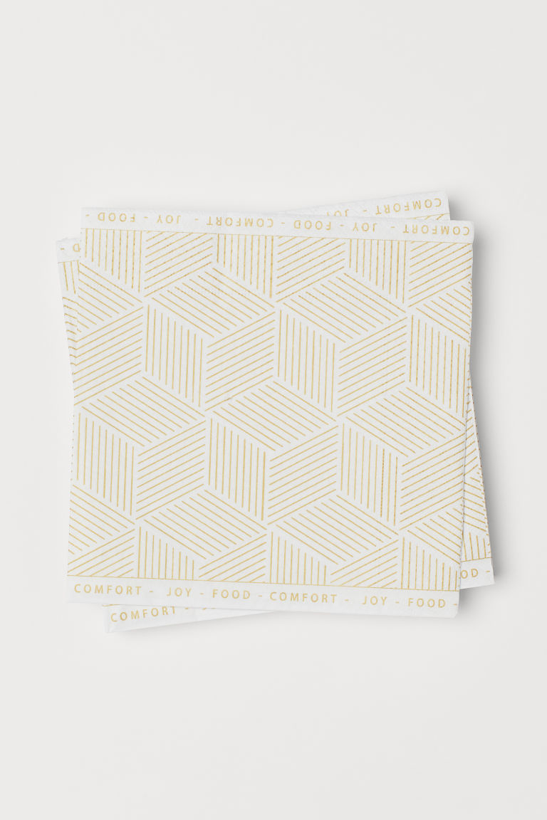 Paper napkins - White/Gold-coloured - Home All | H&M CN