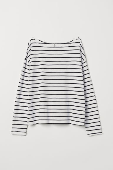 Boat-necked jersey top - White/Black striped -  | H&M CN