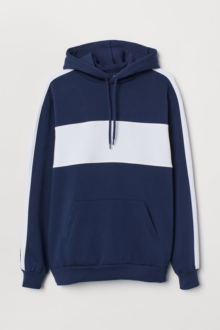 Hooded top - Dark blue/White - Men | H&M CN