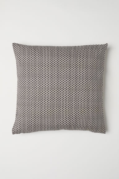 Cotton canvas cushion cover - Dark grey/White patterned - Home All | H&M CN