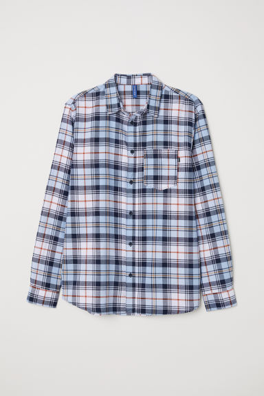 Checked flannel shirt - Light blue/Dark blue -  | H&M