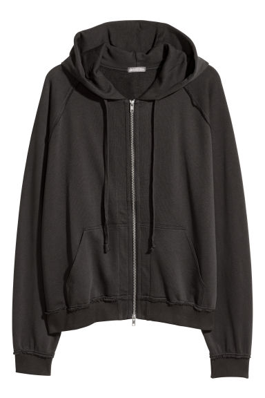 Hooded raglan-sleeved jacket - Black -  | H&M