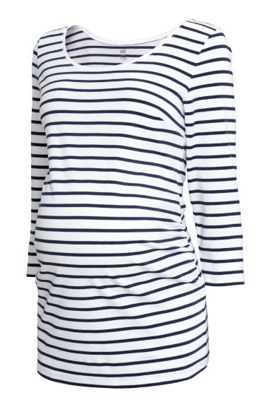 MAMA Cotton jersey top - White/Blue striped - Ladies | H&M IE