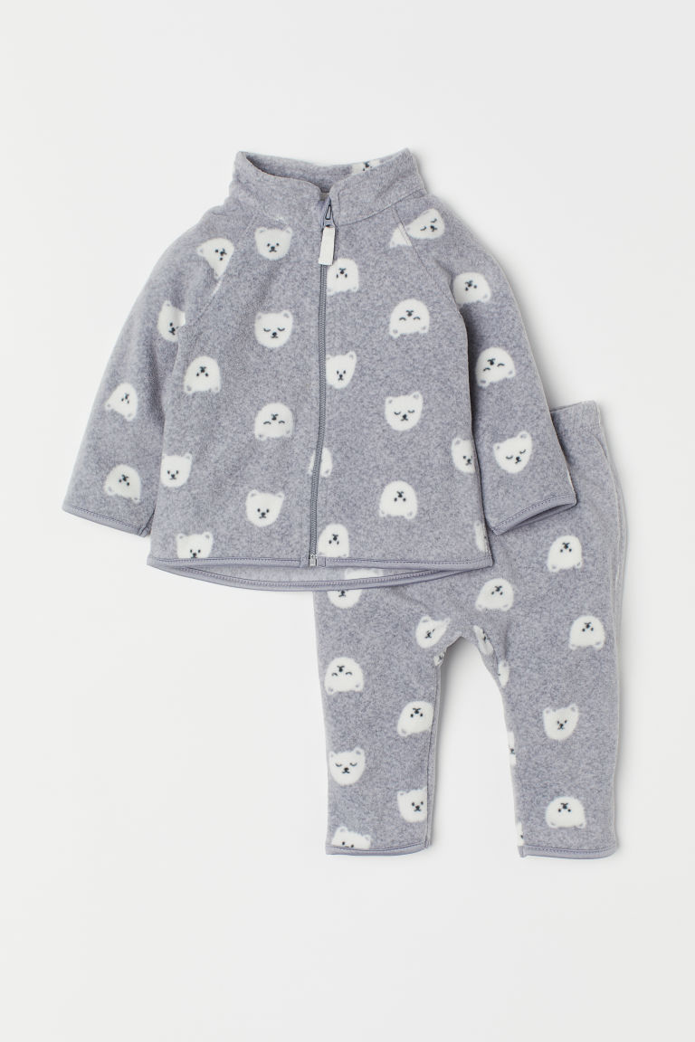 Patterned fleece set - Grey marl/Polar bears -  | H&M CN