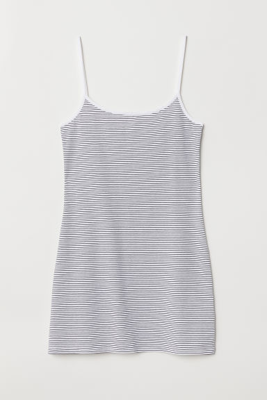 Long jersey strappy top - White/Black striped - Ladies | H&M