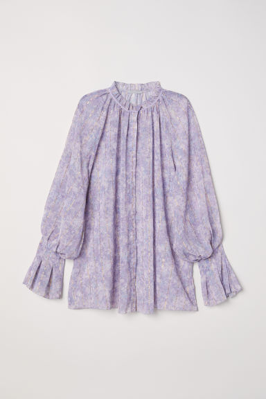Puff-sleeved blouse - Light purple/Patterned - Ladies | H&M