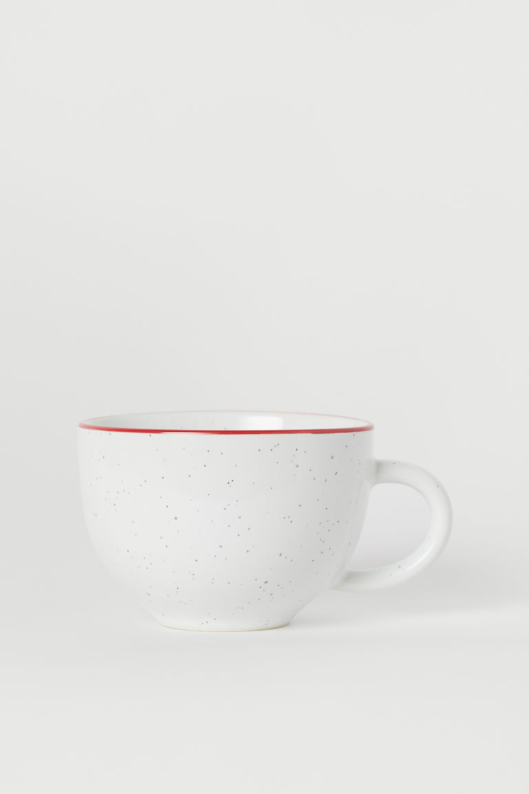 Tazza in gres - Bianco/rosso - HOME | H&M IT