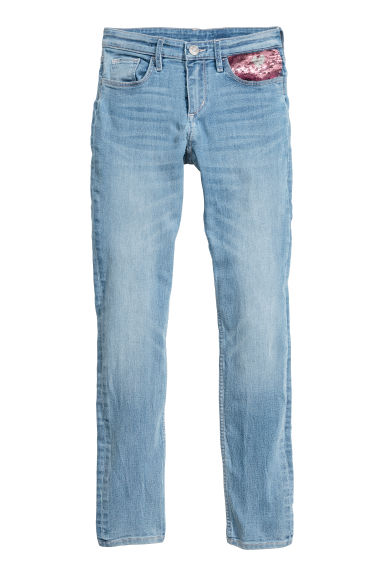 Superstretch Skinny Fit Jeans - Ljus denimblå/Paljetter - BARN | H&M SE