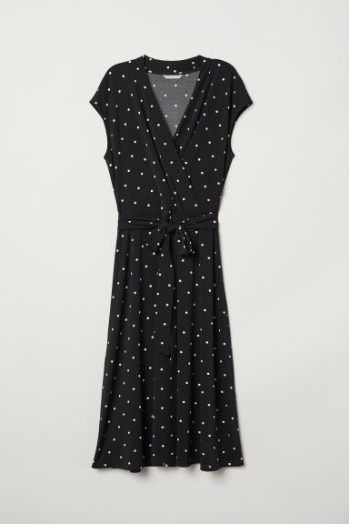 Wrap dress - Black/White spotted - Ladies | H&M CN