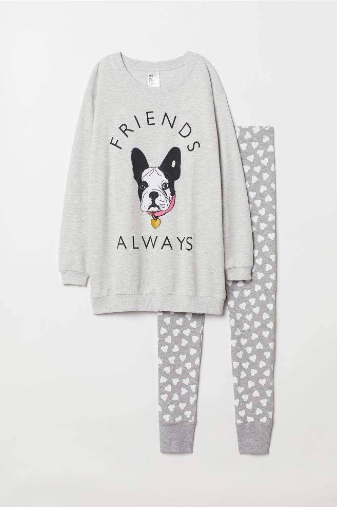 Pyjamas med tröja och leggings - Gråmelerad/Hund - DAM | H&M SE 1