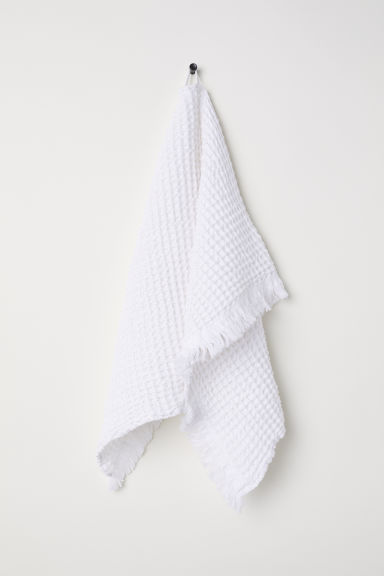 Waffled hand towel - White -  | H&M CN