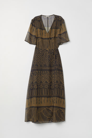 Long wrap dress - Dark khaki/Patterned -  | H&M CN