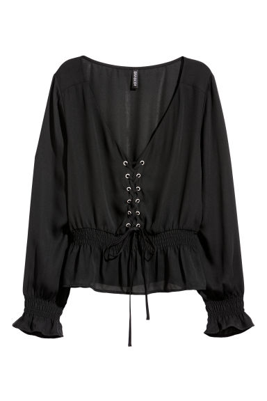 Blouse with lacing - Black -  | H&M CN