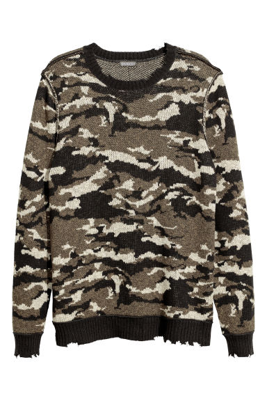 Jacquard-knit jumper - Khaki green/Patterned -  | H&M