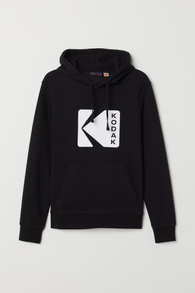 Printed hooded top - Black/Kodak - Men | H&M
