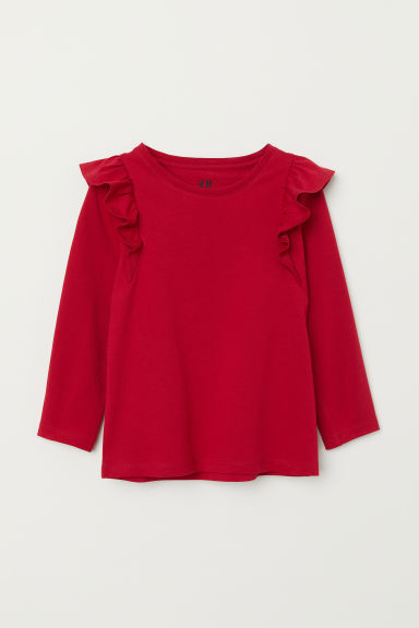 Frill-trimmed jersey top - Dark red - Kids | H&M